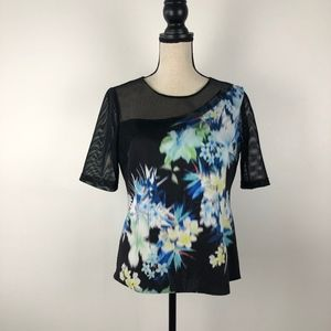 Clover Canyon Flower Print Mesh Black Top Size L